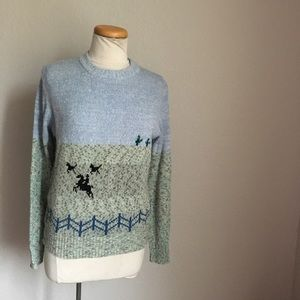 Sweaters - Vintage horses ranch fence acrylic Sweater M